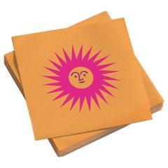Vitra Small Paper Napkins in La Fonda Sun, Pink Orange by Alexander Girard