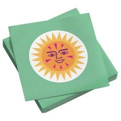 Vitra Small Paper Napkins in La Fonda Sun, Yellow Green by Alexander Girard