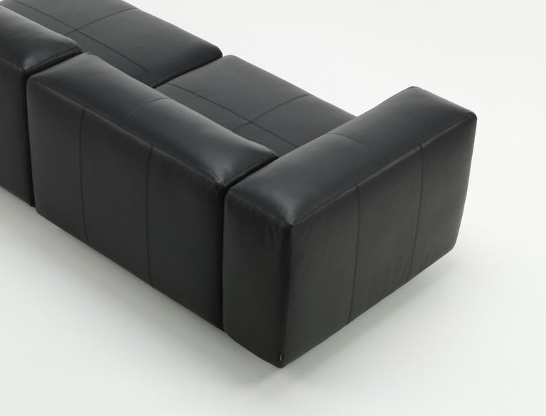 Modern Vitra Soft Modular 3-Seat Sofa with Chaise in Nero Leather by Jasper Morrison For Sale