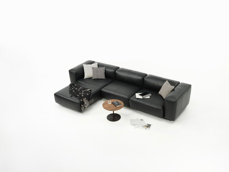 Swiss Vitra Soft Modular 3-Seat Sofa with Chaise in Nero Leather by Jasper Morrison For Sale