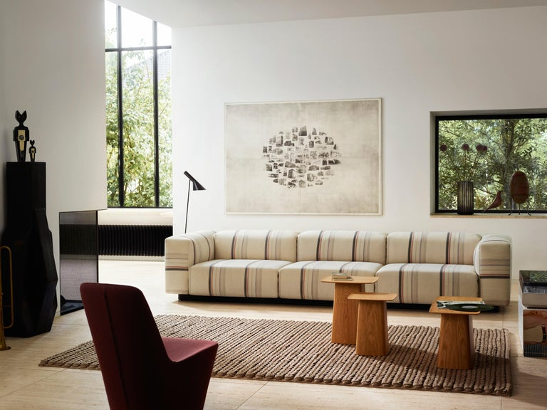 Contemporary Vitra Soft Modular 3-Seat Sofa with Chaise in Nero Leather by Jasper Morrison For Sale