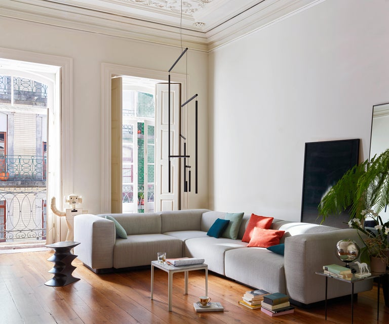 Vitra Soft Modular Sofa With Chaise In Pearl Reed By