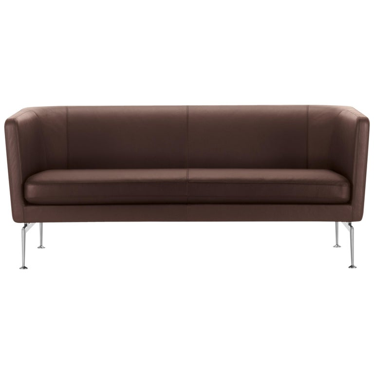 Vitra Suita Club Sofa in Marron Leather by Antonio Citterio For Sale