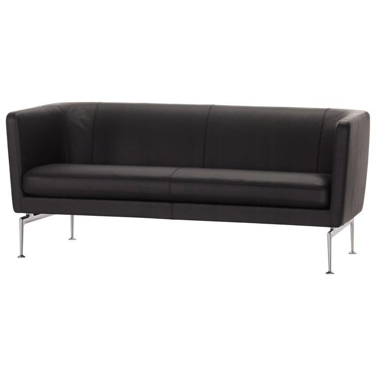 Vitra Suita Club Sofa in Nero Leather by Antonio Citterio For Sale