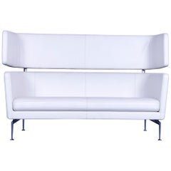 Vitra Suita Designer Leather Sofa White Two-Seat Couch Genuine Leather Bench