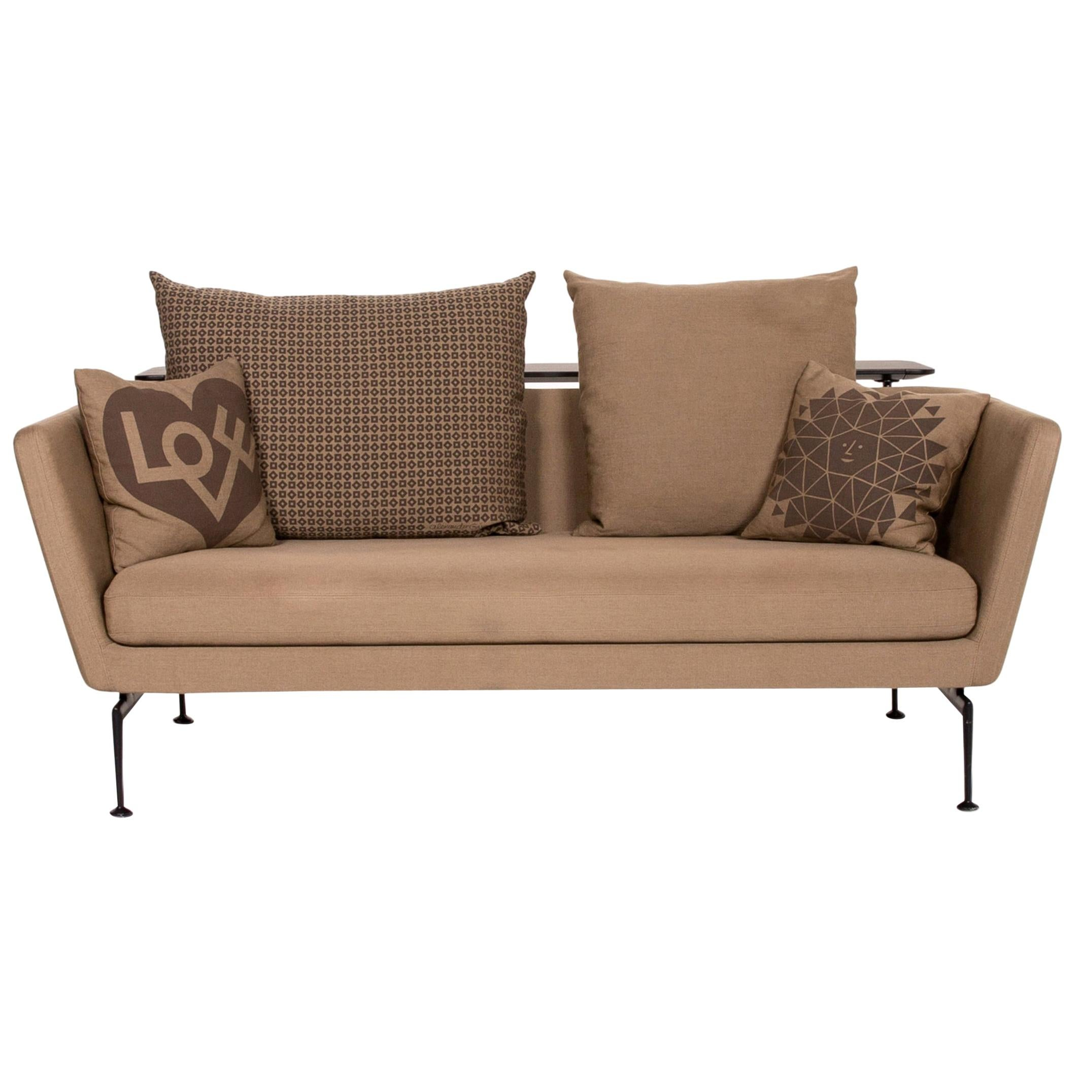 Vitra Suita Fabric Sofa Brown Light Brown Ocher Two-Seat Antonio Citterio