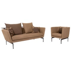 Vitra Suita Fabric Sofa Brown Light Brown Ocher Two Seater Antonio Citterio