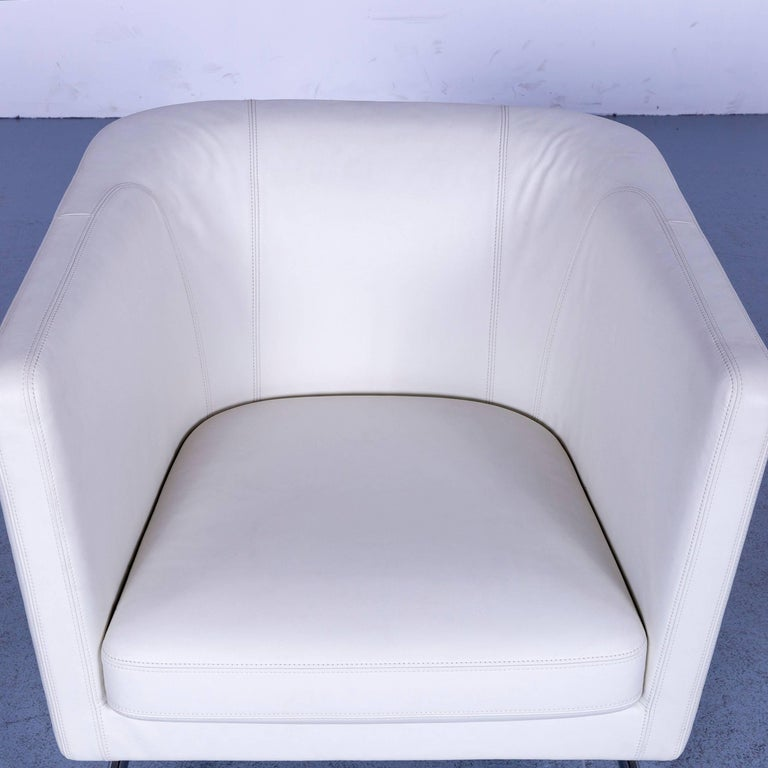 Contemporary Vitra Suita Leather Armchair White One-Seat