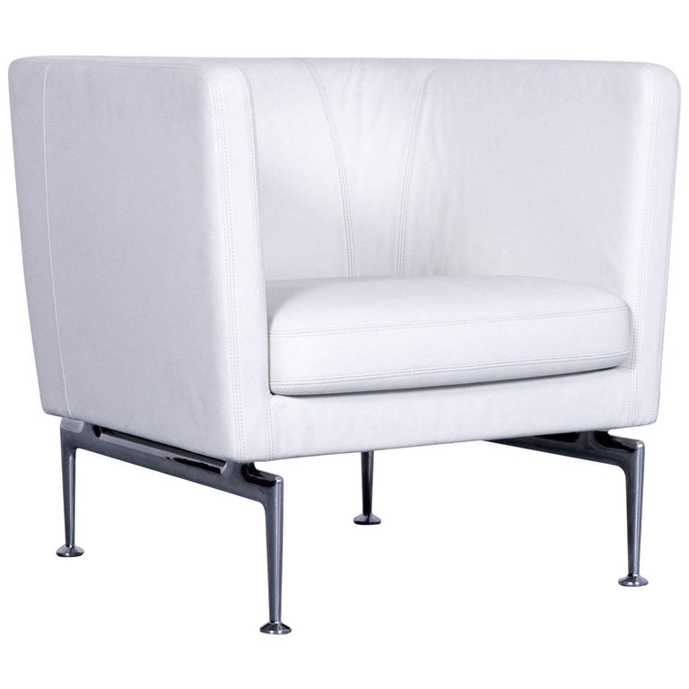 Vitra Suita Leather Armchair White One-Seat