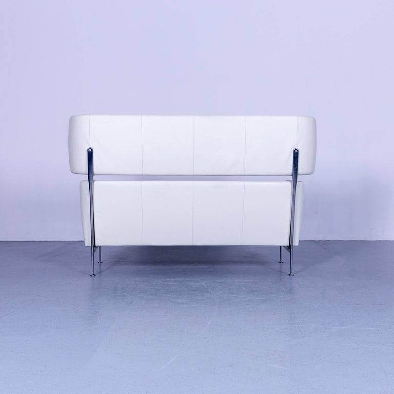 Vitra Suita Leather Sofa White Two-Seat Couch 5