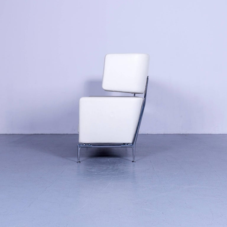 Vitra Suita Leather Sofa White Two-Seat Couch 6