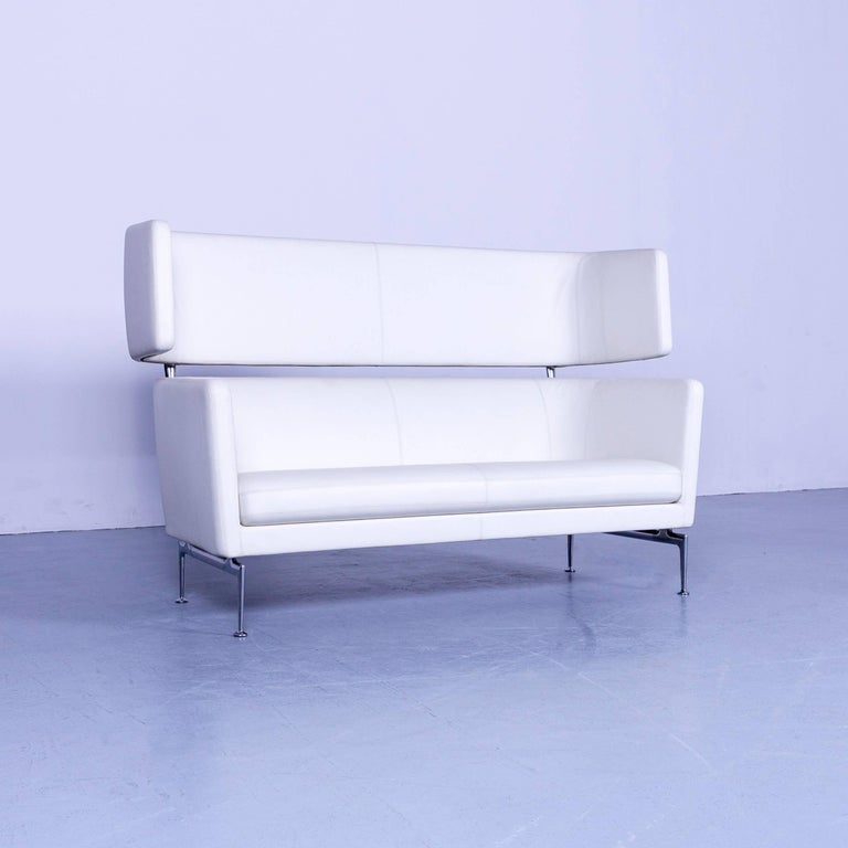 We bring to you an Vitra Suita leather sofa white two-seat couch.
