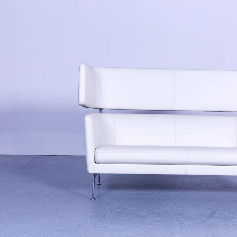 German Vitra Suita Leather Sofa White Two-Seat Couch