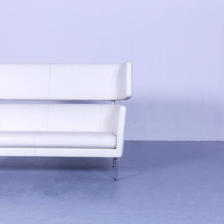 Vitra Suita Leather Sofa White Two-Seat Couch In Good Condition In Cologne, DE