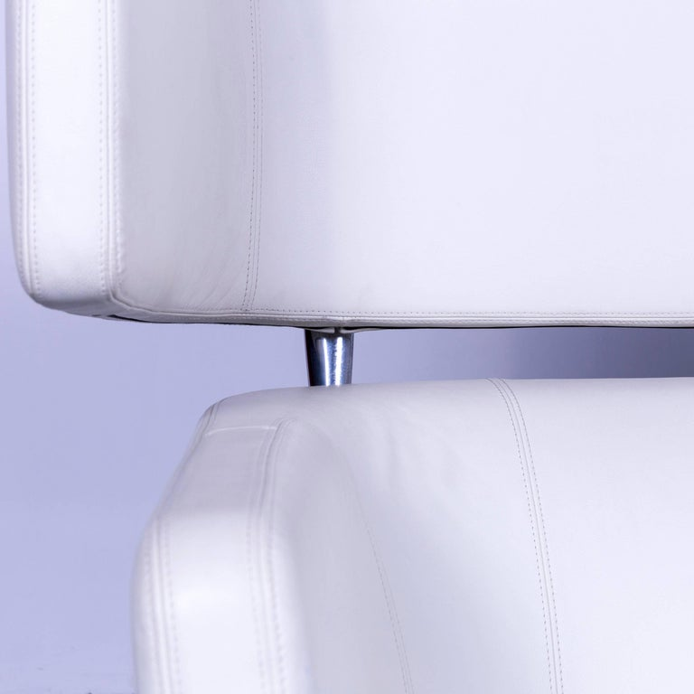 Vitra Suita Leather Sofa White Two-Seat Couch 1