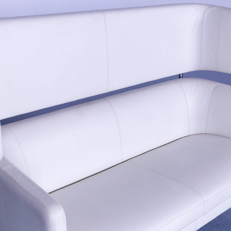 Vitra Suita Leather Sofa White Two-Seat Couch 2