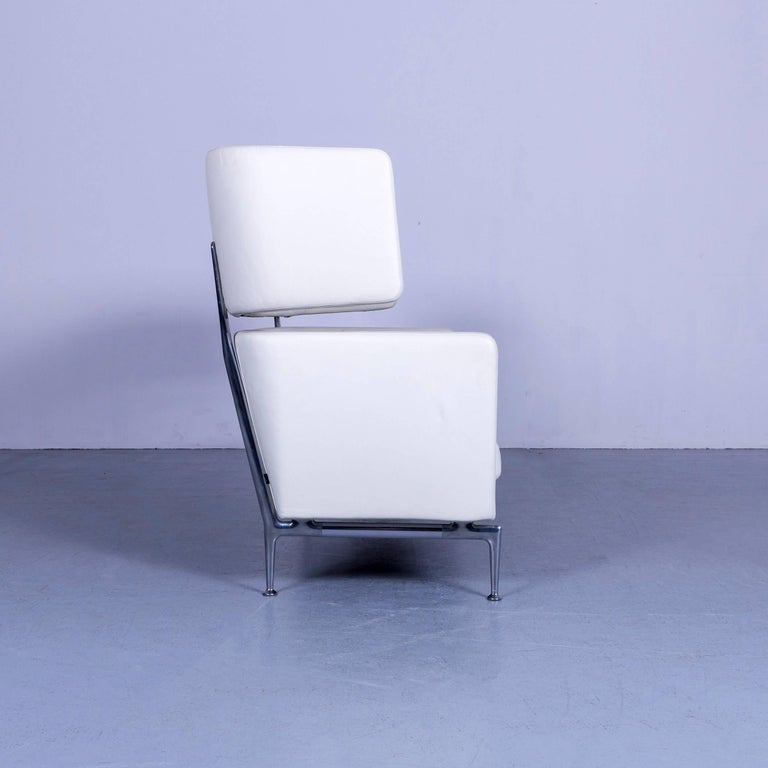 Vitra Suita Leather Sofa White Two-Seat Couch 4