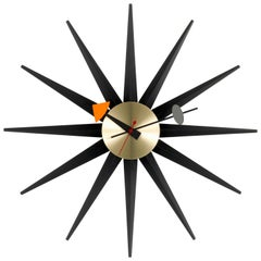 Vitra Sunburst Clock in Black & Brass by George Nelson