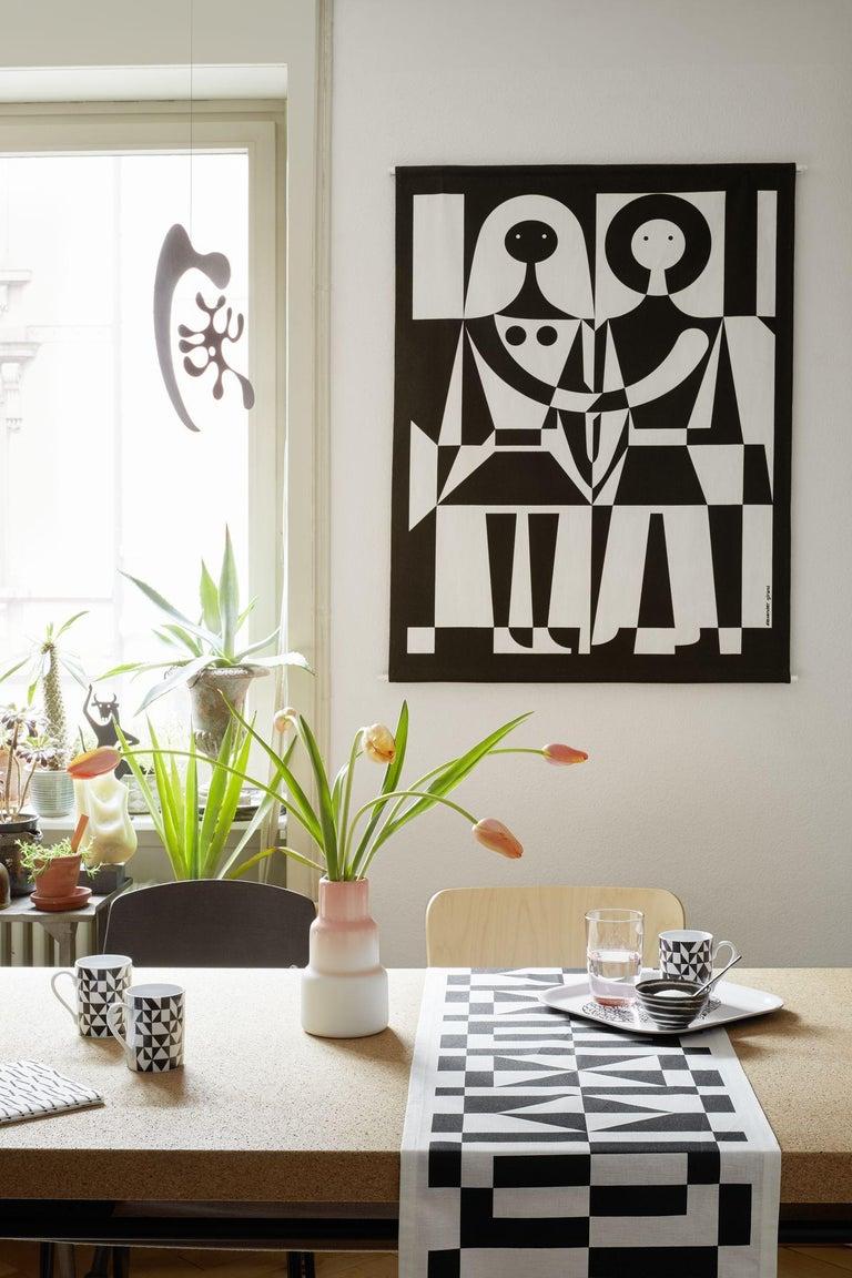 Swiss Vitra Table Runner in Black Geometric Pattern by Alexander Girard For Sale
