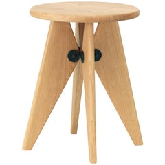 Vitra Tabouret Solvay Stool in Natural Oak by Jean Prouvé