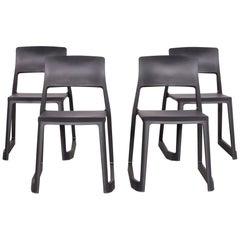 Vitra Tip Clay Designer Polypropylene Chair Set Gray by Edward Barber
