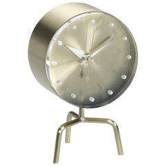 Vitra Tripod Desk Clock in Brass & Glass by George Nelson