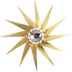 Vitra Turbine Wall Clock in Brass & Aluminum by George Nelson