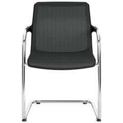 Vitra Unix Cantilever Stackable Chair in Nero Diamond Mesh by Antonio Citterio