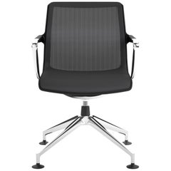 Vitra Unix Four-Star Base Chair in Asphalt Silk Mesh by Antonio Citterio