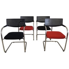 Vitra Visavis Black and Red Chairs by Antonio Citterio and Glenn Olivier Löw
