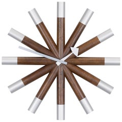 Vitra Wheel Wall Clock in Wood & Aluminum by George Nelson