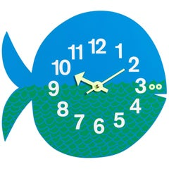 Vitra Zoo Timers Fernando the Fish Wall Clock in Aqua and Green by George Nelson