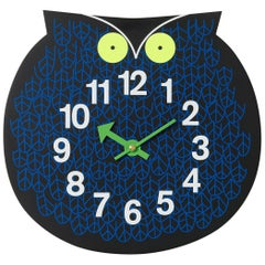 Vitra Zoo Timers Omar the Owl Wall Clock in Navy and Black by George Nelson