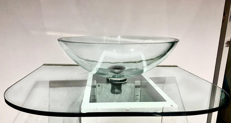 Vitraform large round polished clear vessel sink & rounded clear glass countertop. MSRP for this set is nearly 4400 USD.