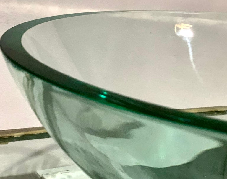 American Vitraform Large Round Polished Clear Vessel Sink& Rounded Clear Glass Countertop For Sale