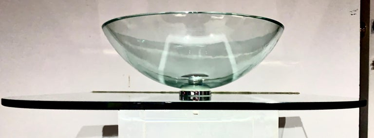 20th Century Vitraform Large Round Polished Clear Vessel Sink& Rounded Clear Glass Countertop For Sale