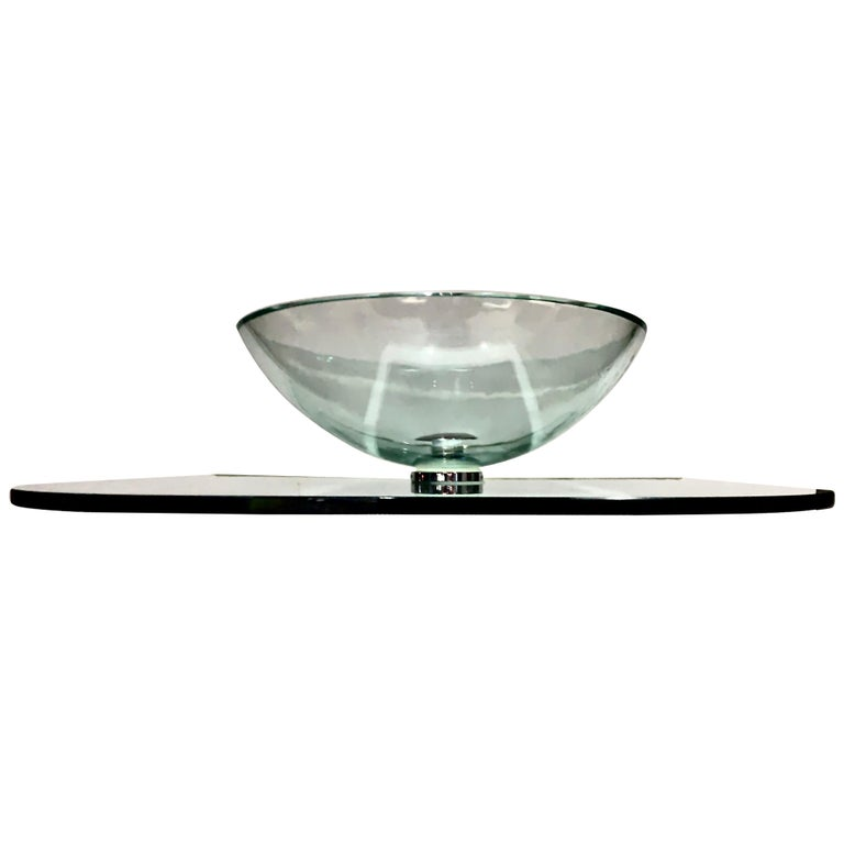 Vitraform Large Round Polished Clear Vessel Sink& Rounded Clear Glass Countertop For Sale