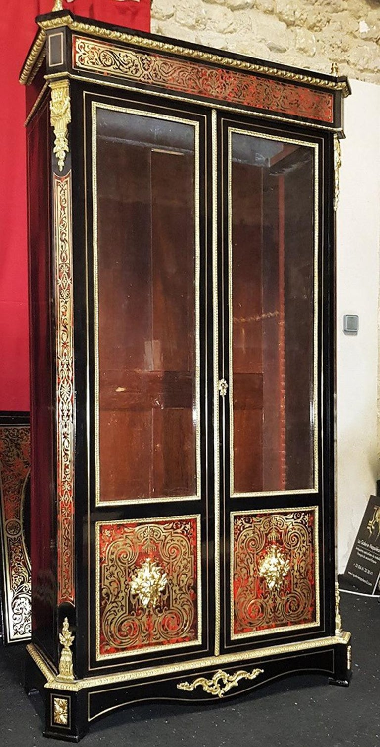Vitrine Bookcase in Boulle Marquetry Napoleon III, France, 1860 In Excellent Condition In Paris, FR
