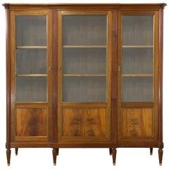 Vitrine Bookcase Mahogany French Vintage Louis XVI Revival