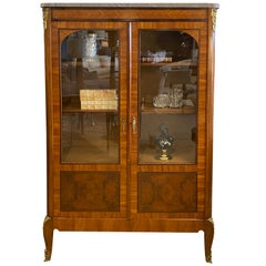 Vitrine French 2 Door with Marble Top, Ormolu Mounts, Louis XV Styling