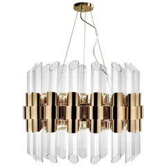 Vitta Gold Round Suspension with Crystal Glass Cylinders