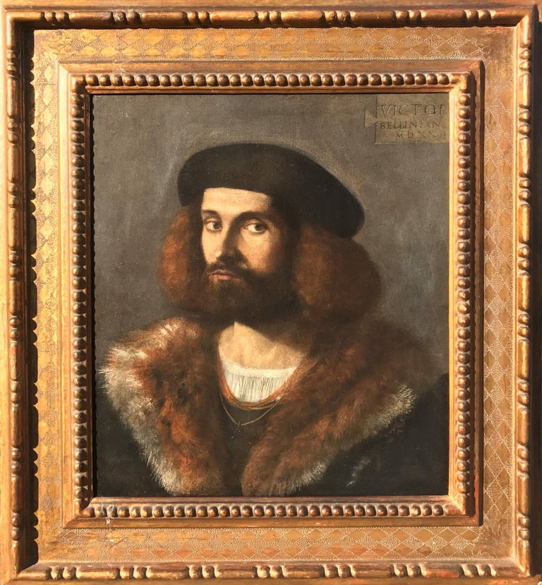 Vittore Belliniano Figurative Painting - Renaissance Old Master Portrait of a Young Bearded Man