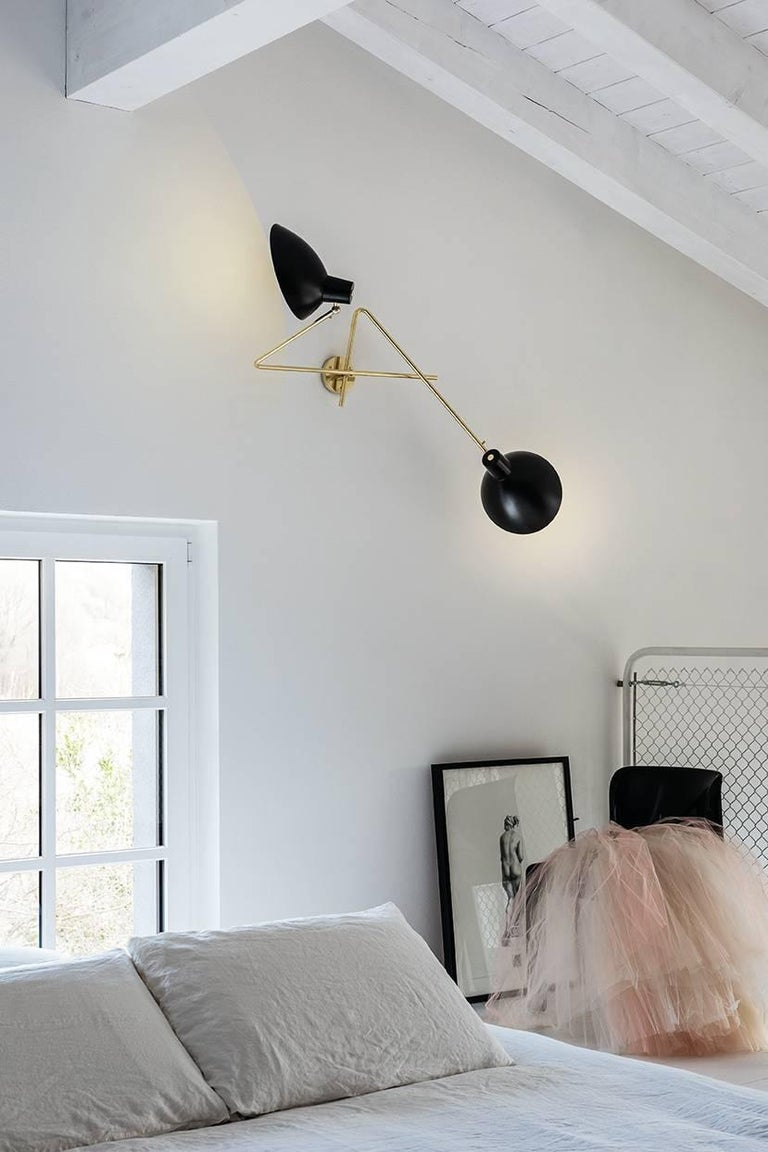 Mid-Century Modern Vittoriano Viganò 'VV Cinquanta Twin' Wall Lamp in Black For Sale
