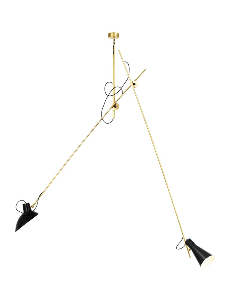 Vittoriano Viganò 'VV Suspension' lamp in black and brass for Astep. Viganò was the art director of Arteluce, the company founded by his creative partner Gino Sarfatti, and the visor was one of his most celebrated design series. Designed in 1951