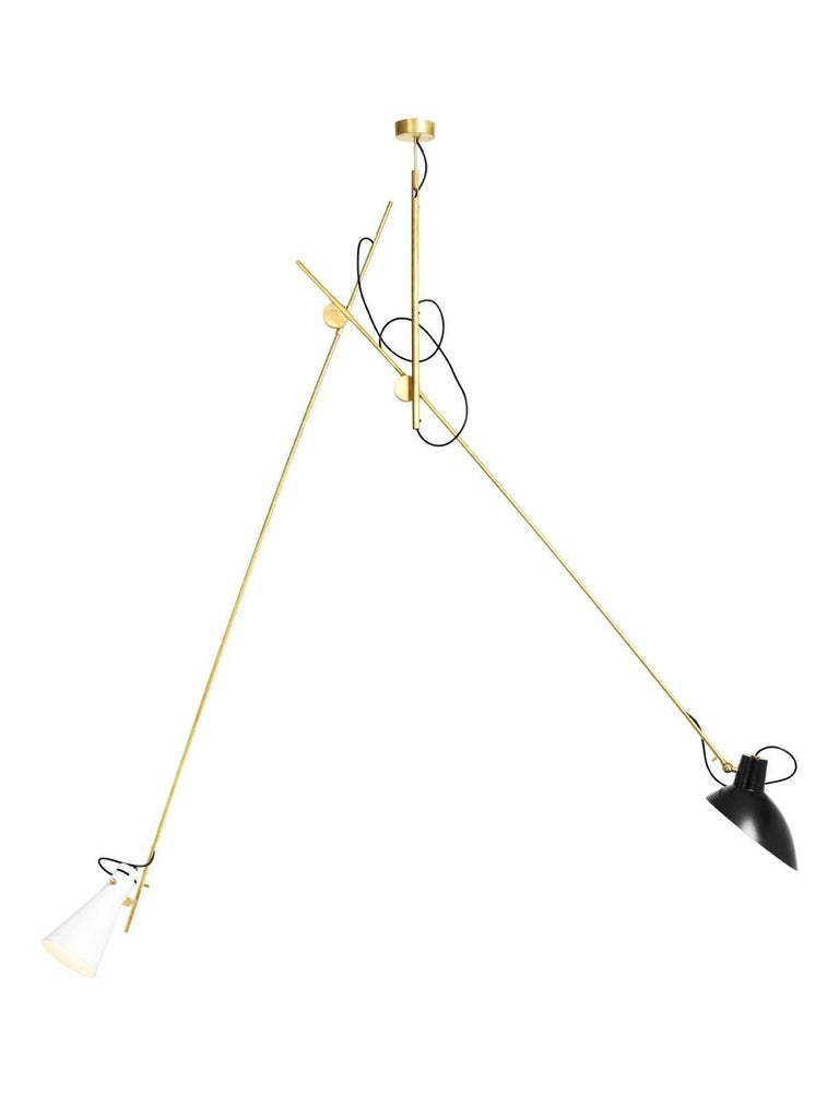 Mid-Century Modern Vittoriano Viganò 'VV Suspension' Lamp in Black and Brass For Sale