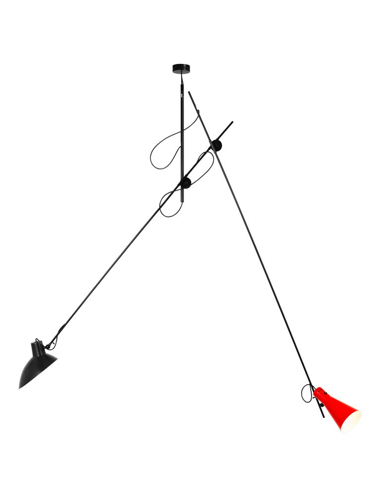 Vittoriano Viganò 'VV Suspension' lamp in red and black for Astep. Viganò was the art director of Arteluce, the company founded by his creative partner Gino Sarfatti, and the visor was one of his most celebrated design series. Designed in 1951 when