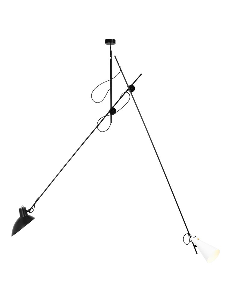 Vittoriano Viganò 'VV Suspension' Lamp in Black, White and Brass For Sale 2