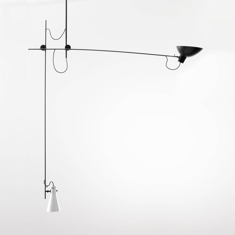 Vittoriano Viganò 'VV Suspension' Lamp in Black, White and Brass For Sale 3