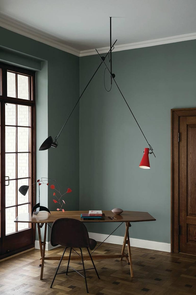 Vittoriano Viganò 'VV Suspension' Lamp in Black, White and Brass For Sale 6