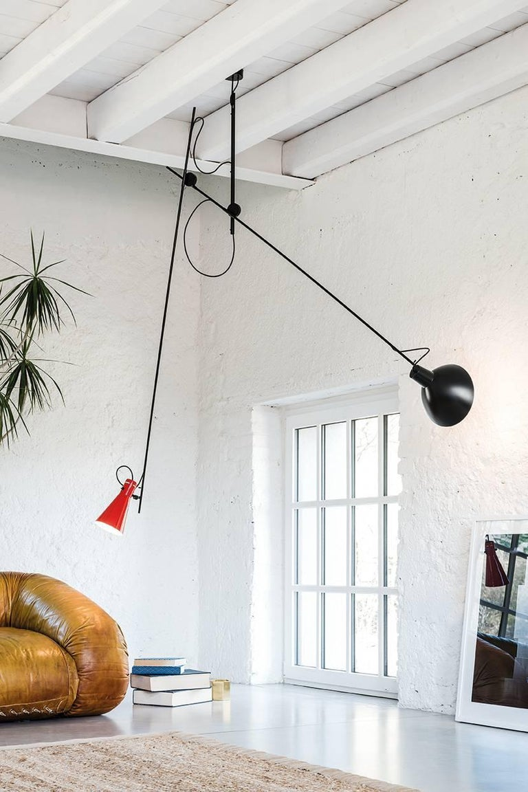 Vittoriano Viganò 'VV Suspension' Lamp in Black, White and Brass For Sale 7